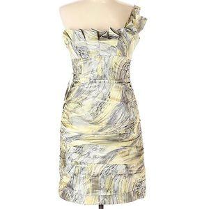 Teri Joh Yellow Gray Cocktail Dress 10 L NWT $465
